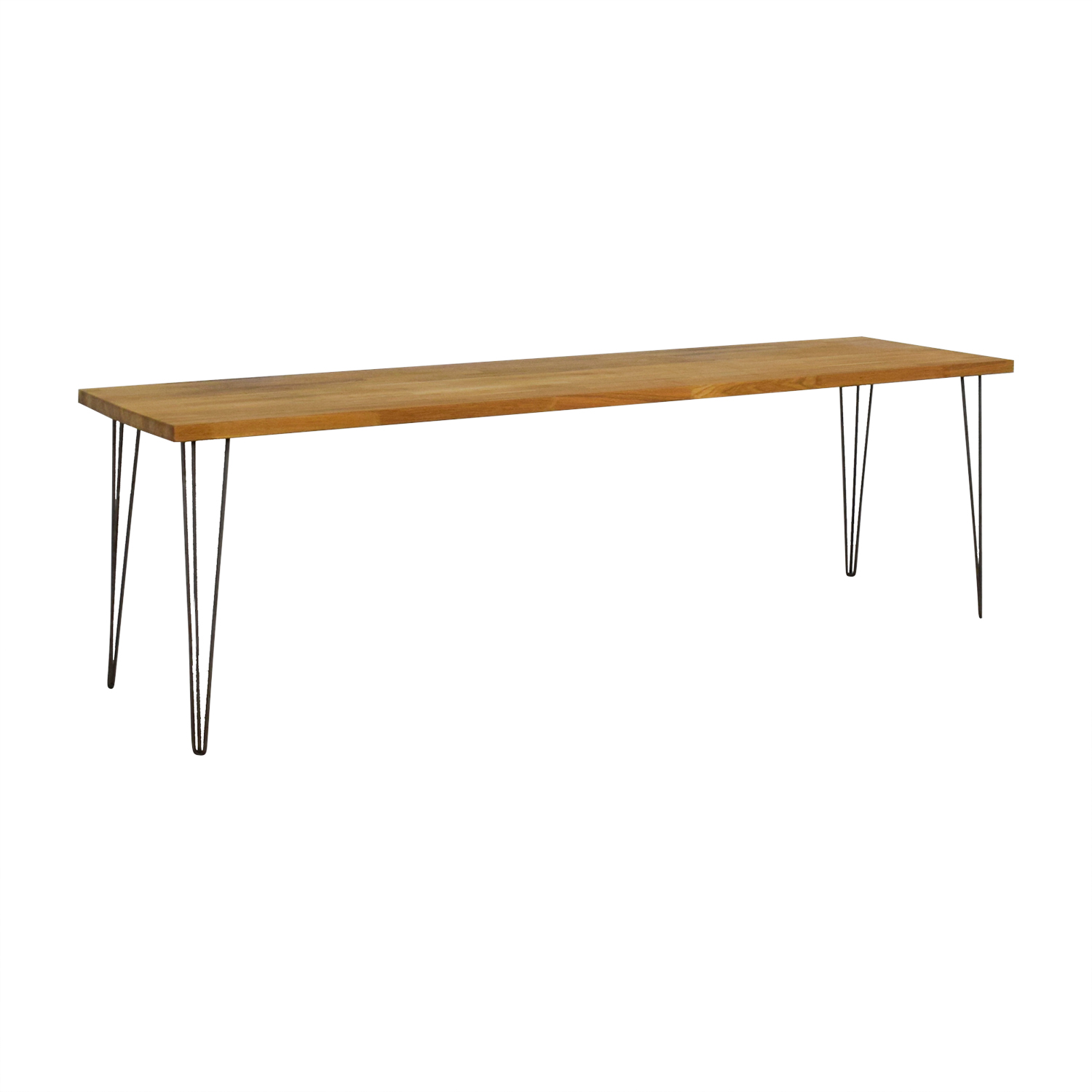 Custom Hazelnut Wood Table with Triangular Steel Legs