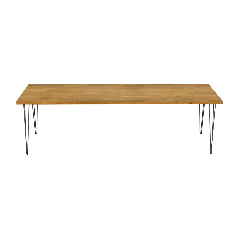 Handcrafted Hazelnut Wood Table With Triangular Steel Legs nyc