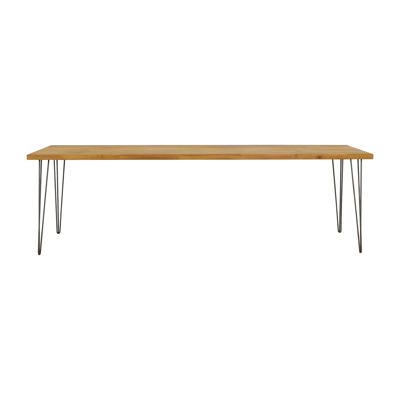 Handcrafted Hazelnut Wood Table With Triangular Steel Legs sale