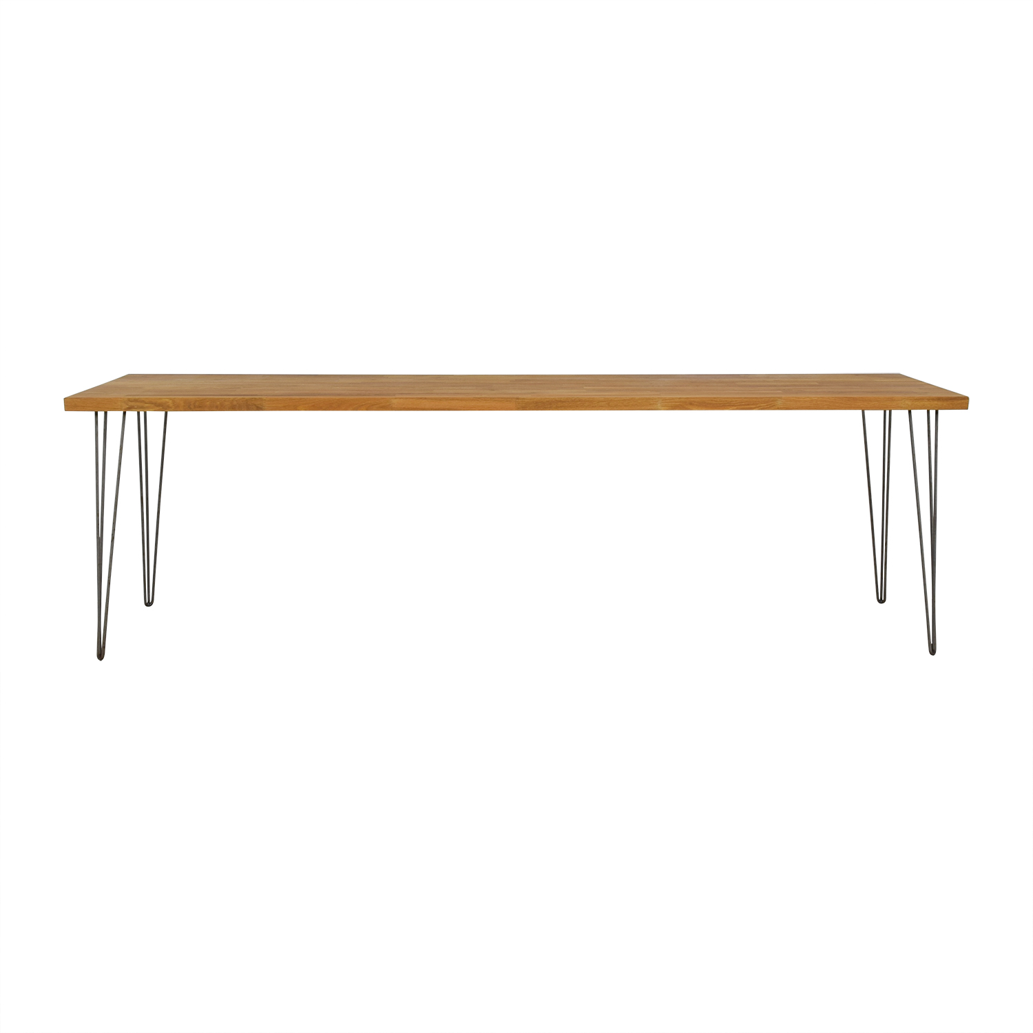 Custom Hazelnut Wood Table With Triangular Steel Legs for sale