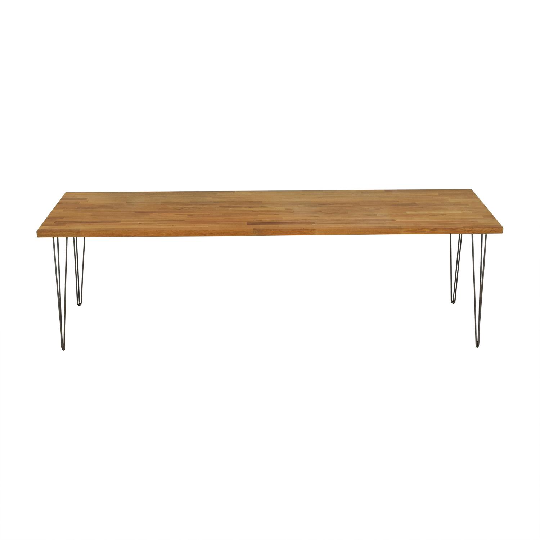 Custom Hazelnut Wood Table With Triangular Steel Legs Tables