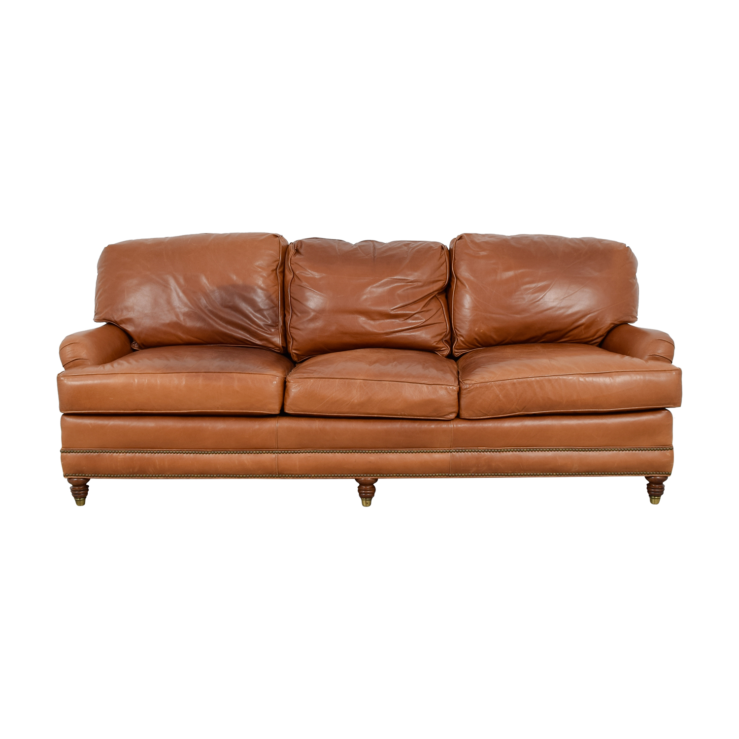 90% OFF - Whittemore-Sherrill Whittemore-Sherrill Brown Leather Sofa ...