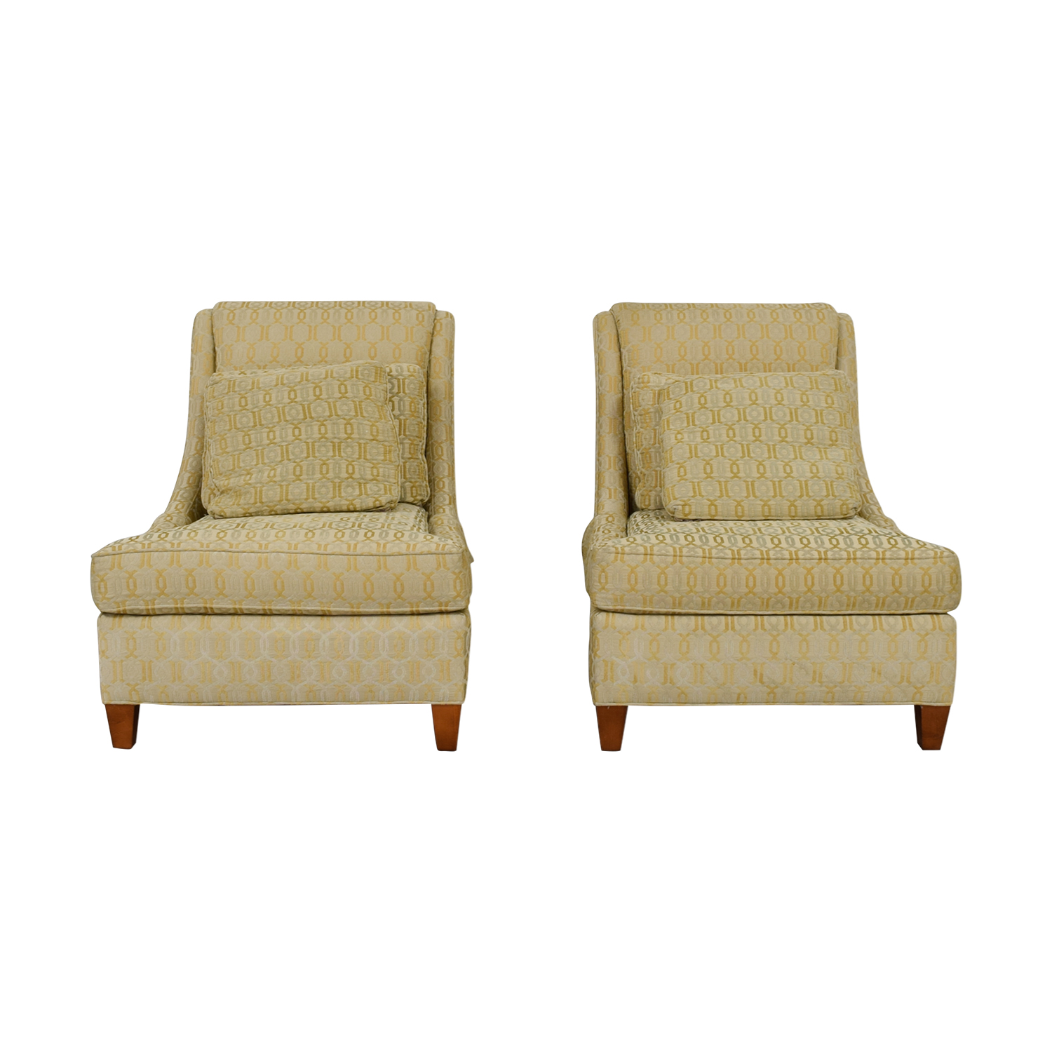 Jessica McClintock Home Jessica McClintock Home Beige Multi-Colored Upholstered Wing Accent Chairs