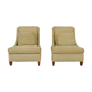 Jessica McClintock Home Jessica McClintock Home Beige Multi-Colored Upholstered Wing Accent Chairs discount
