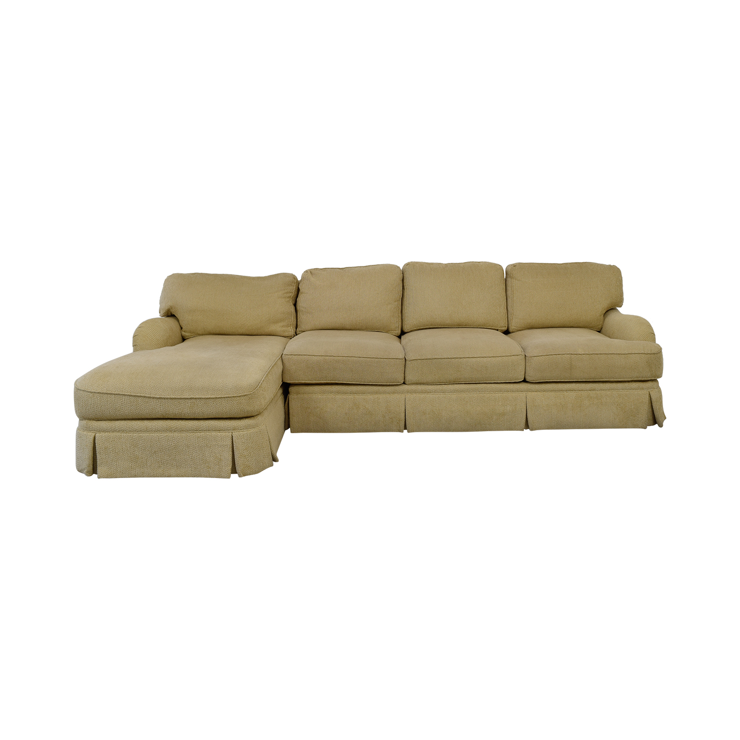 C R Laine Beige Skirted Chaise Sectional sale