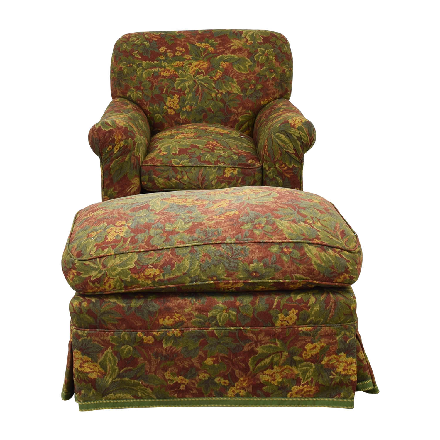 Down Filled Floral Accent Chair and Ottoman Accent Chairs