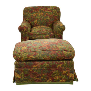 Down Filled Floral Accent Chair and Ottoman used
