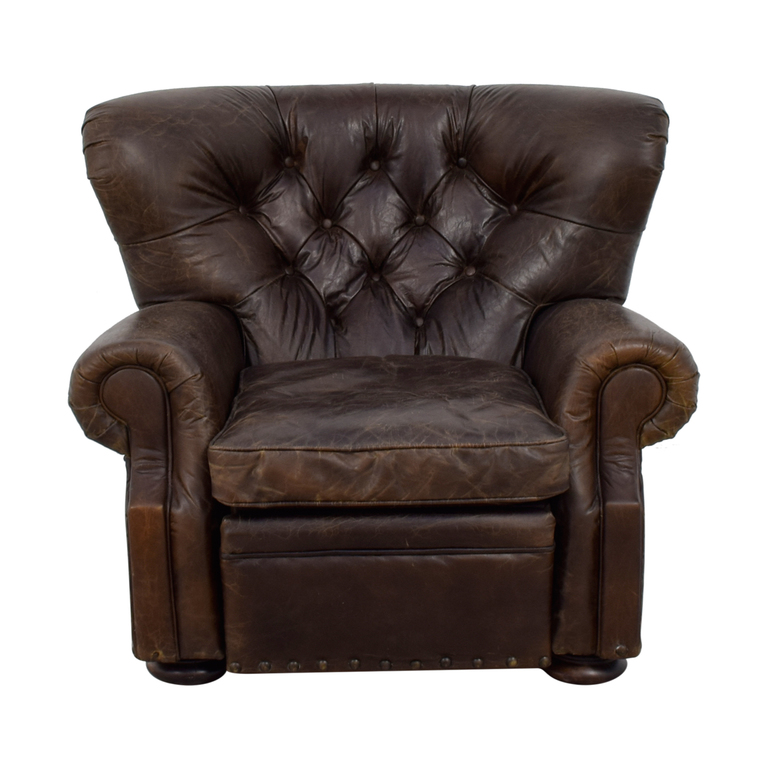 buy Restoration Hardware Restoration Hardware Churchill Brown Leather Nailhead Tufted Recliner online