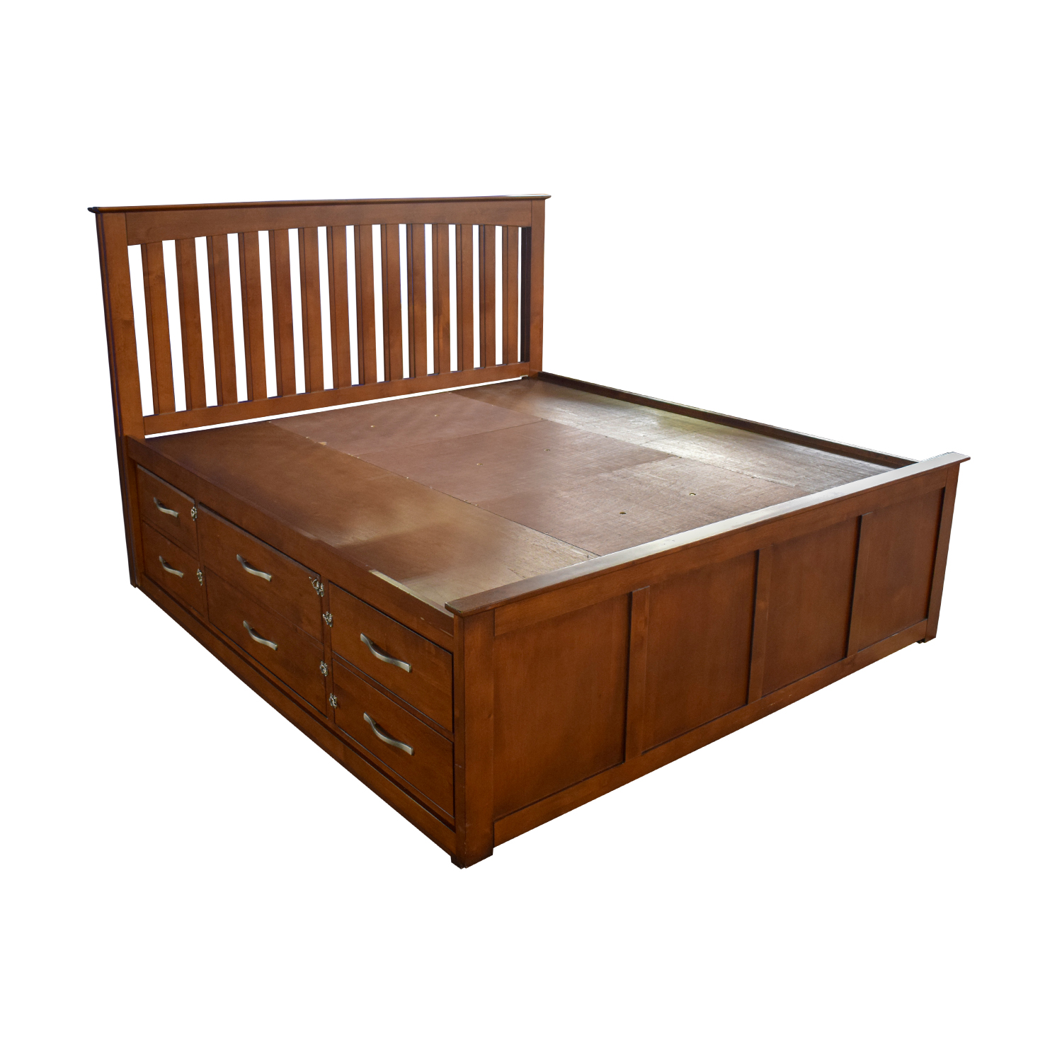Raymour & Flanigan Raymour & Flanigan King Platform Bed Frame with Storage Drawers brown