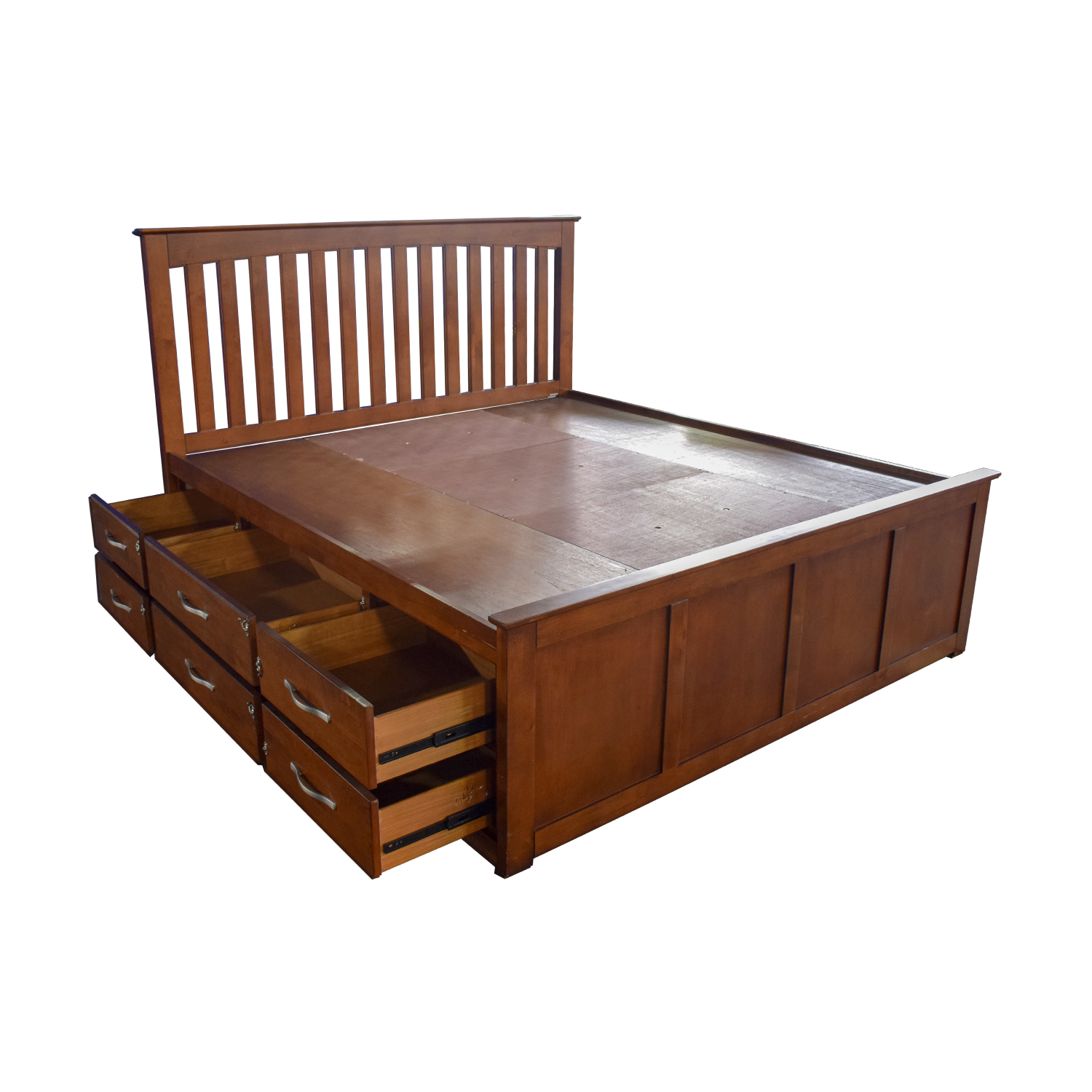 Raymour & Flanigan Raymour & Flanigan King Platform Bed Frame with Storage Drawers used