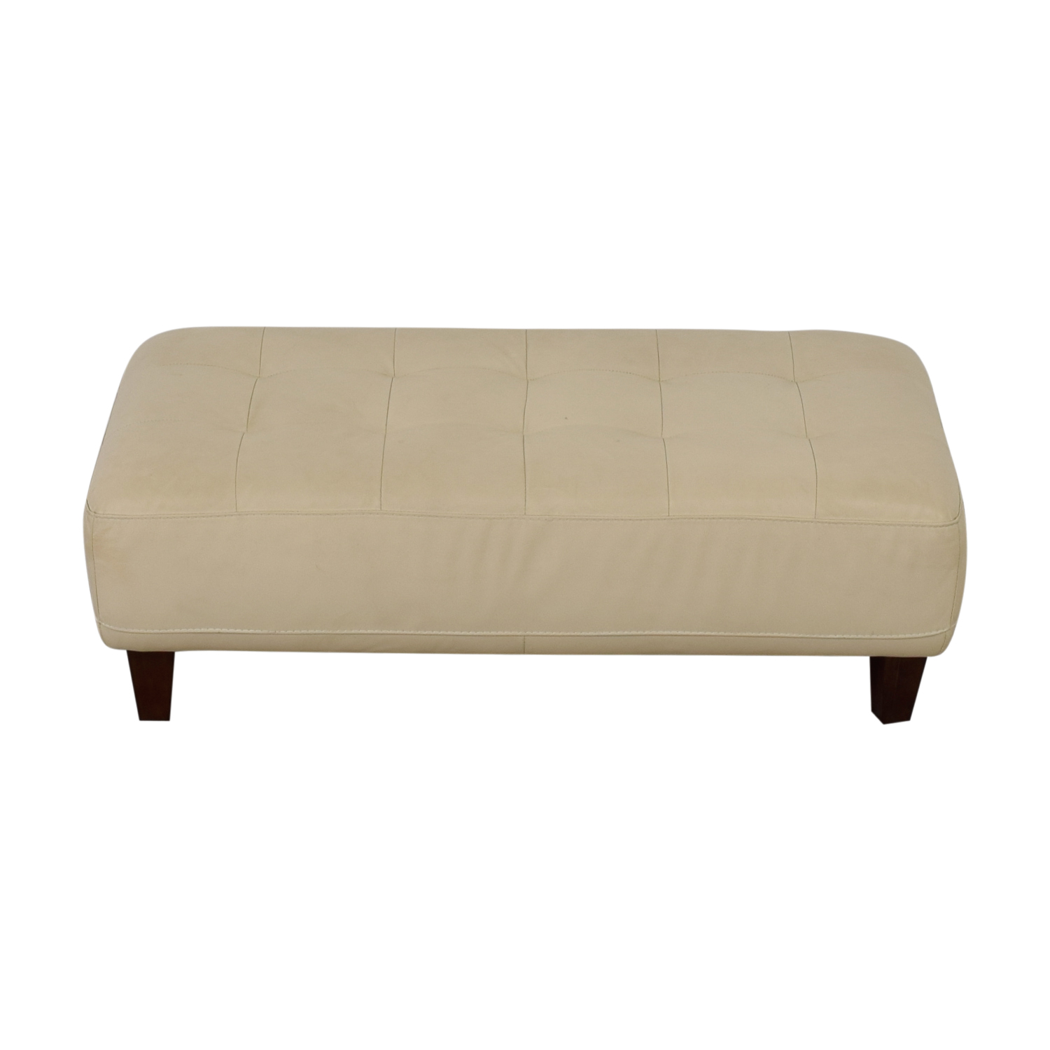 buy Chateau d'Ax Eggshell Leather Ottoman Bench Chateau d'Ax