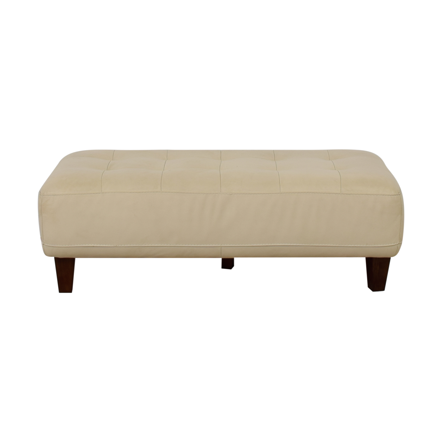 Chateau d'Ax Chateau d'Ax Eggshell Leather Ottoman Bench