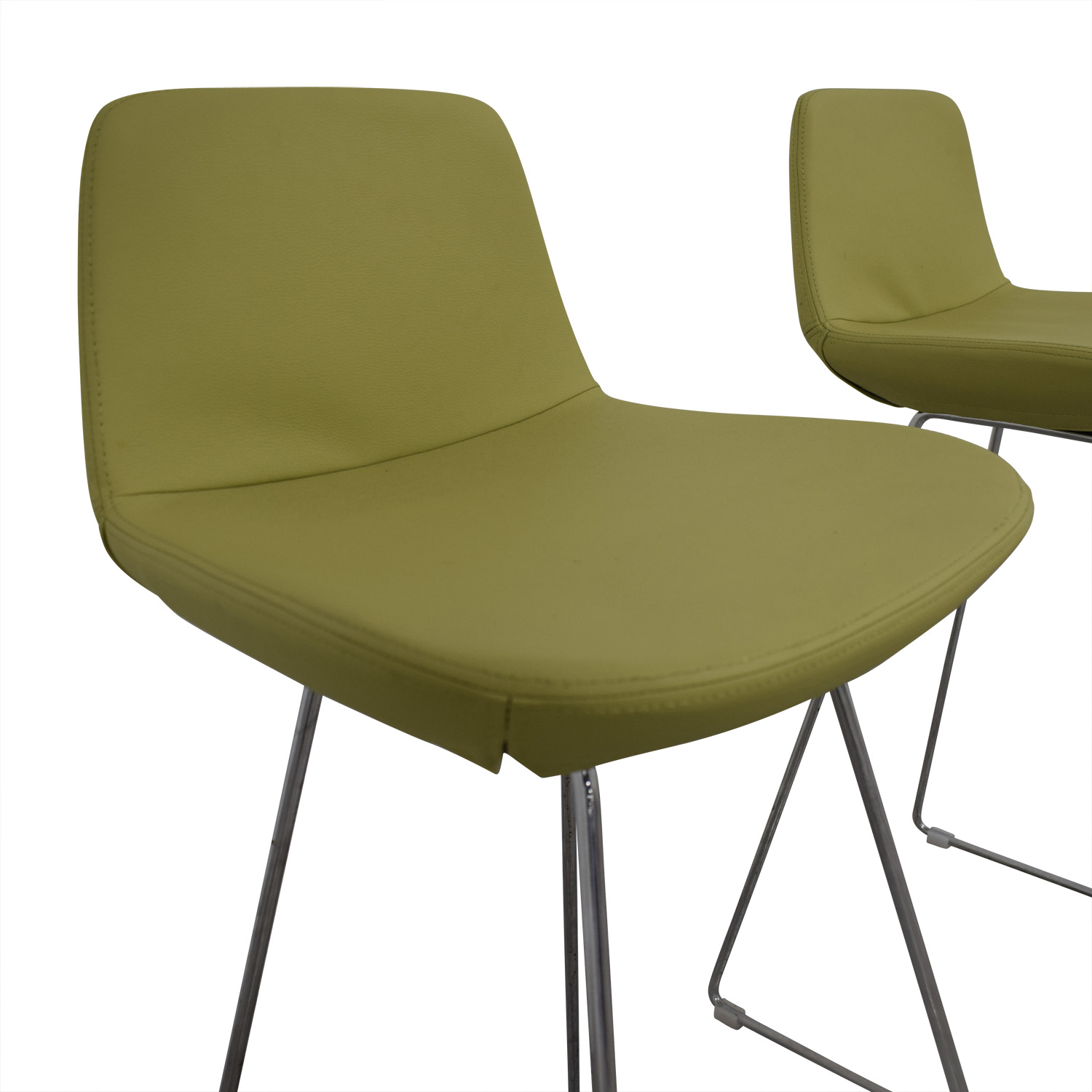 Design Within Reach Design Within Reach Lime Leather Bar Stools nyc