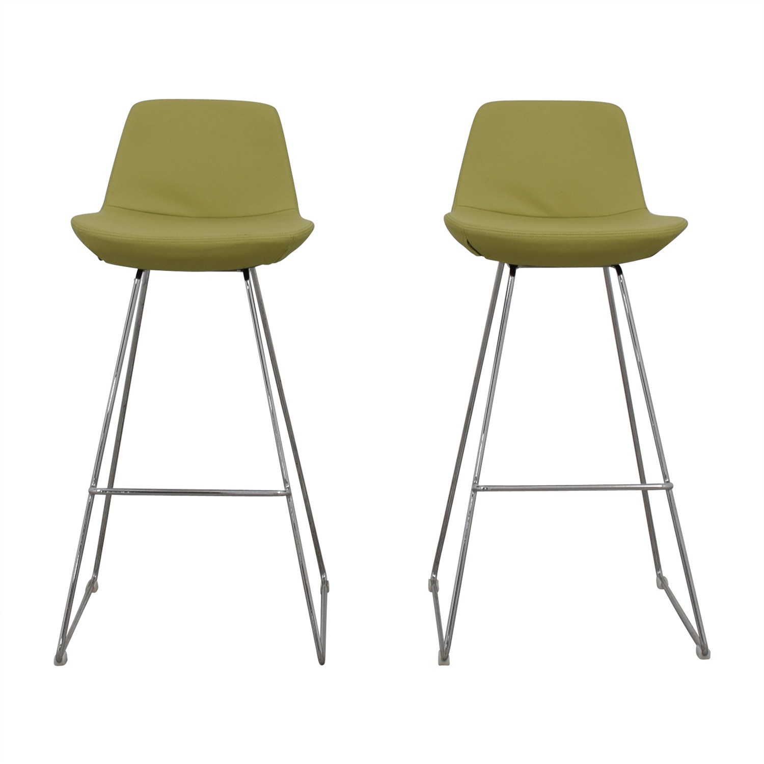 Design Within Reach Lime Leather Bar Stools / Accent Chairs