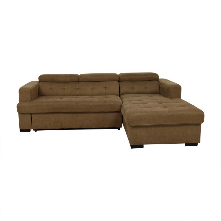Bob's Discount Furniture Bob's Furniture Brown Sectional with Chaise Storage second hand