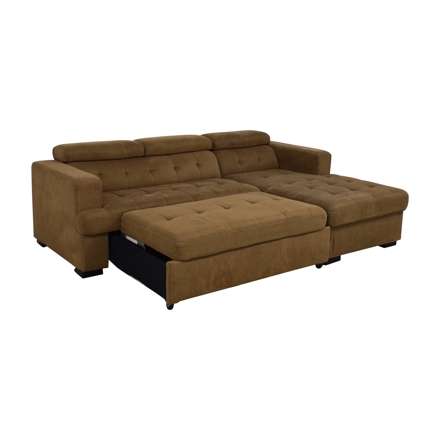 Bob's Furniture Brown Sectional with Chaise Storage Bob's Furniture