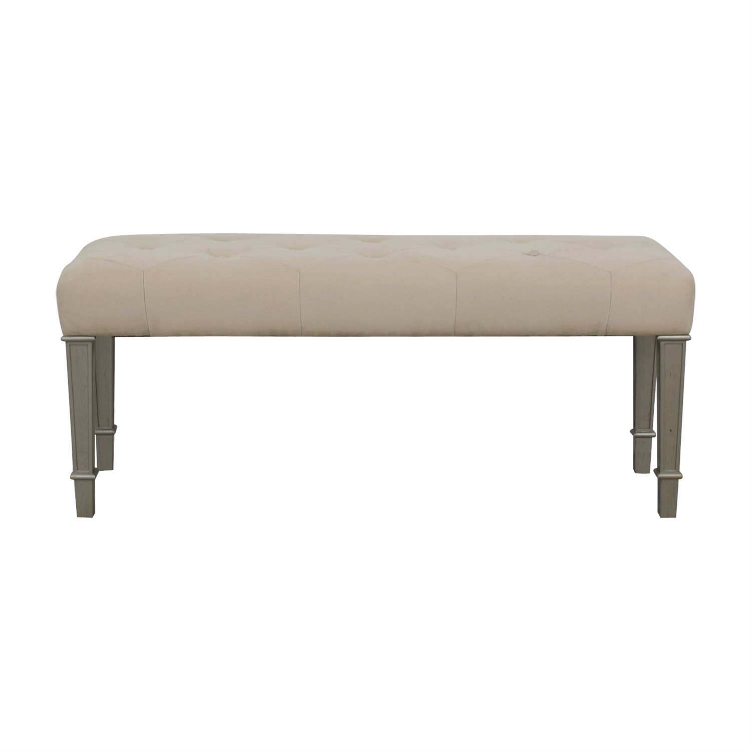 Pier One Horchow Hayworth Ivory Silver Bench used