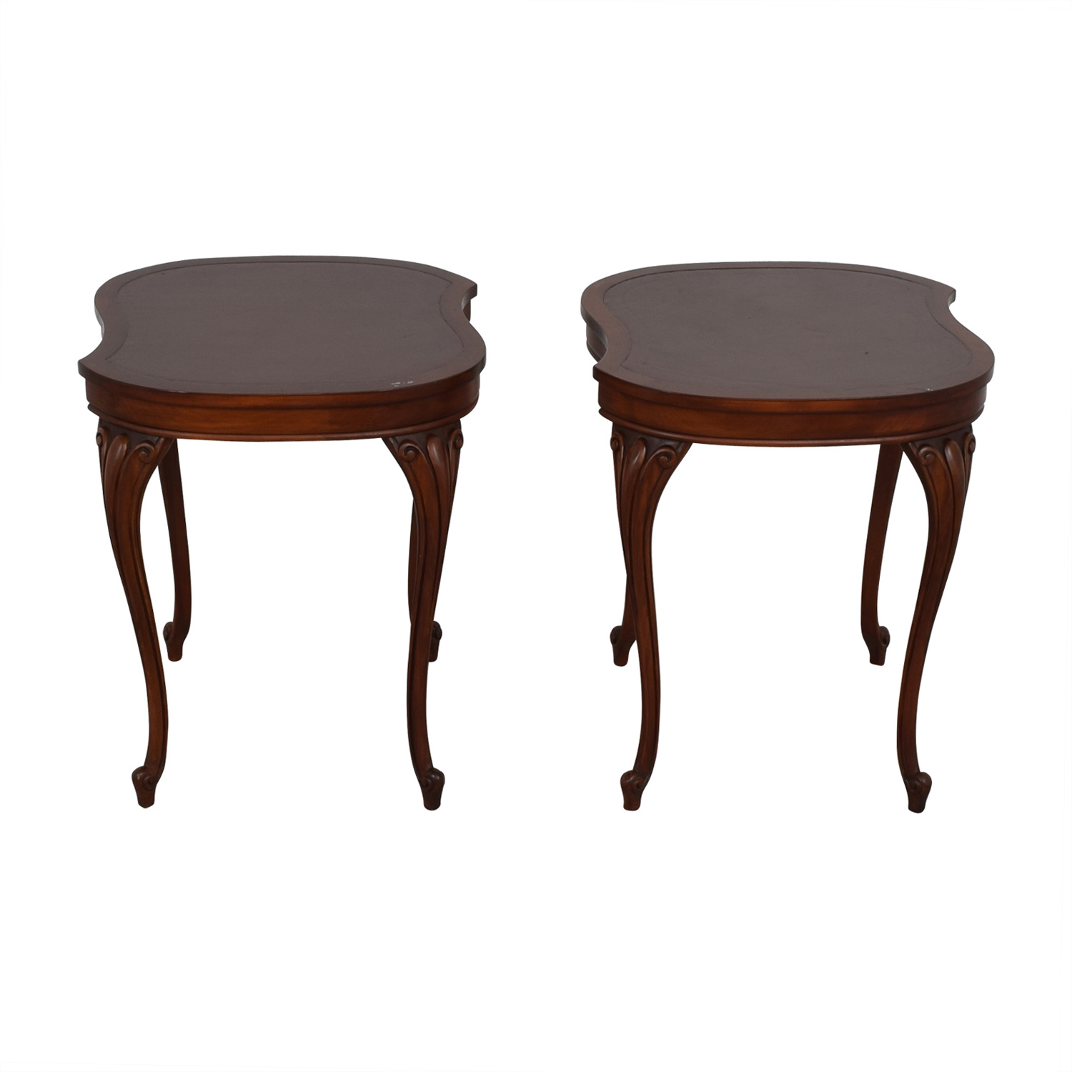 Antique Carved Queen Anne Walnut End Tables nj