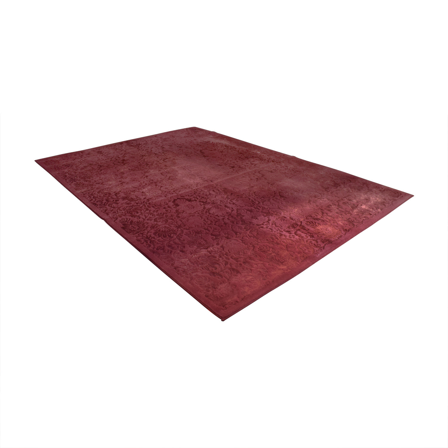 ABC Carpet & Home Damask Burgendy Wool Rug sale