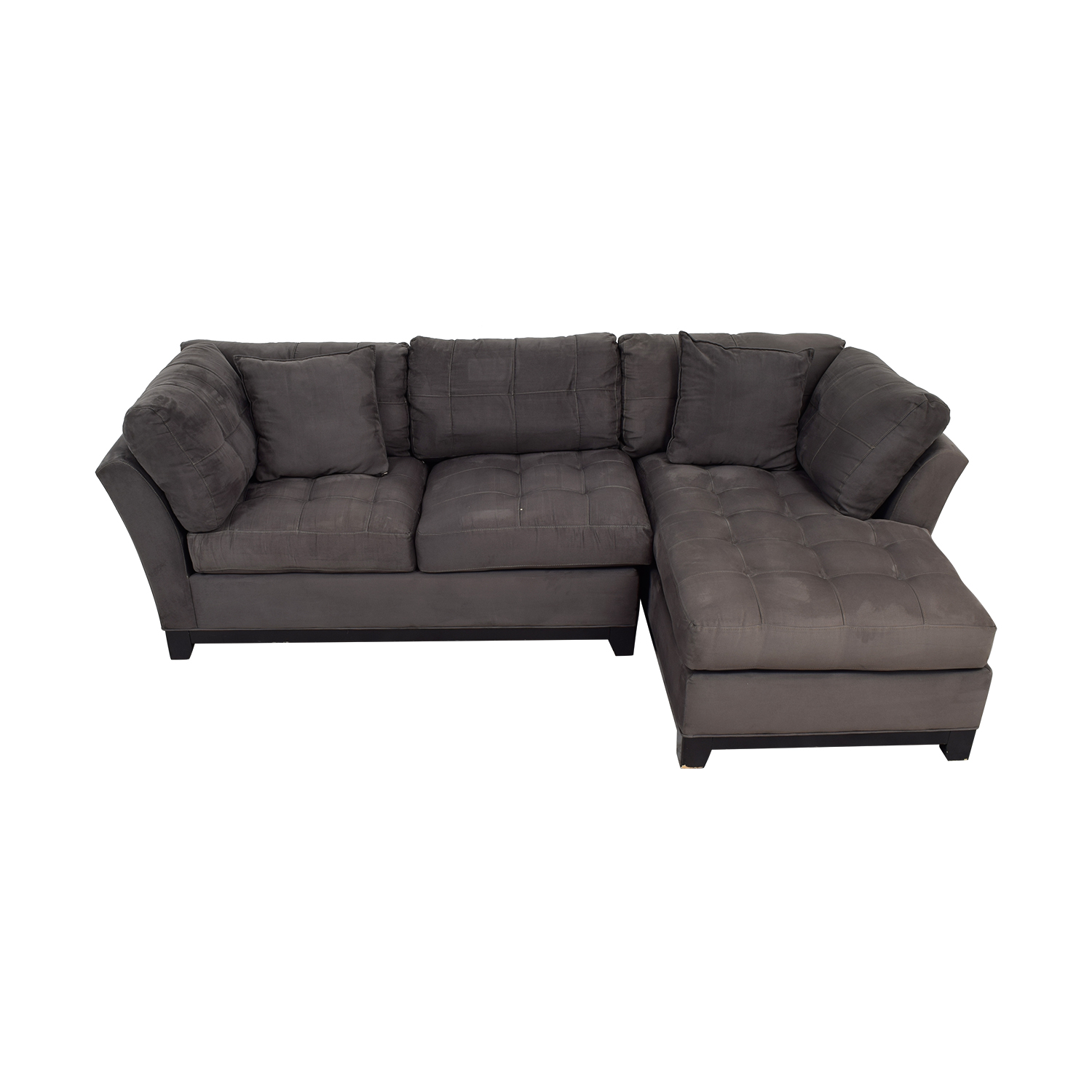 buy Raymour & Flanigan Cindy Crawford Grey Semi Tufted Sectional Raymour & Flanigan