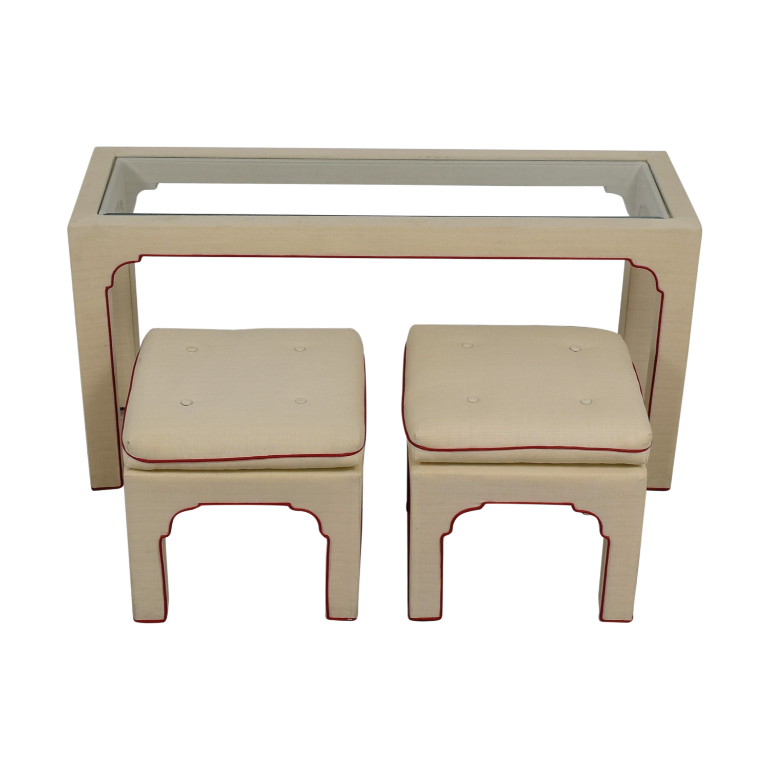 Cream and Red Sofa Table and Stools for sale