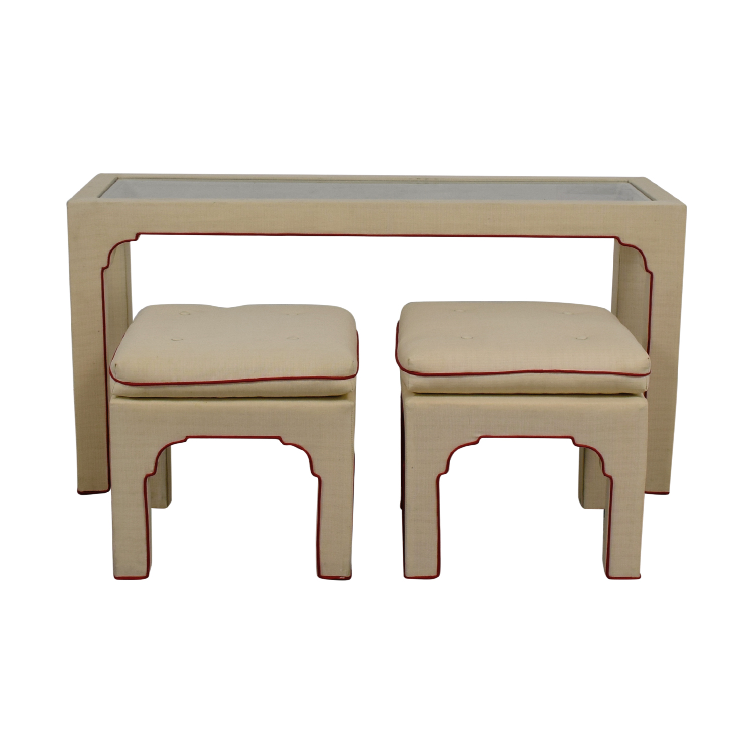 Cream and Red Sofa Table and Stools nj