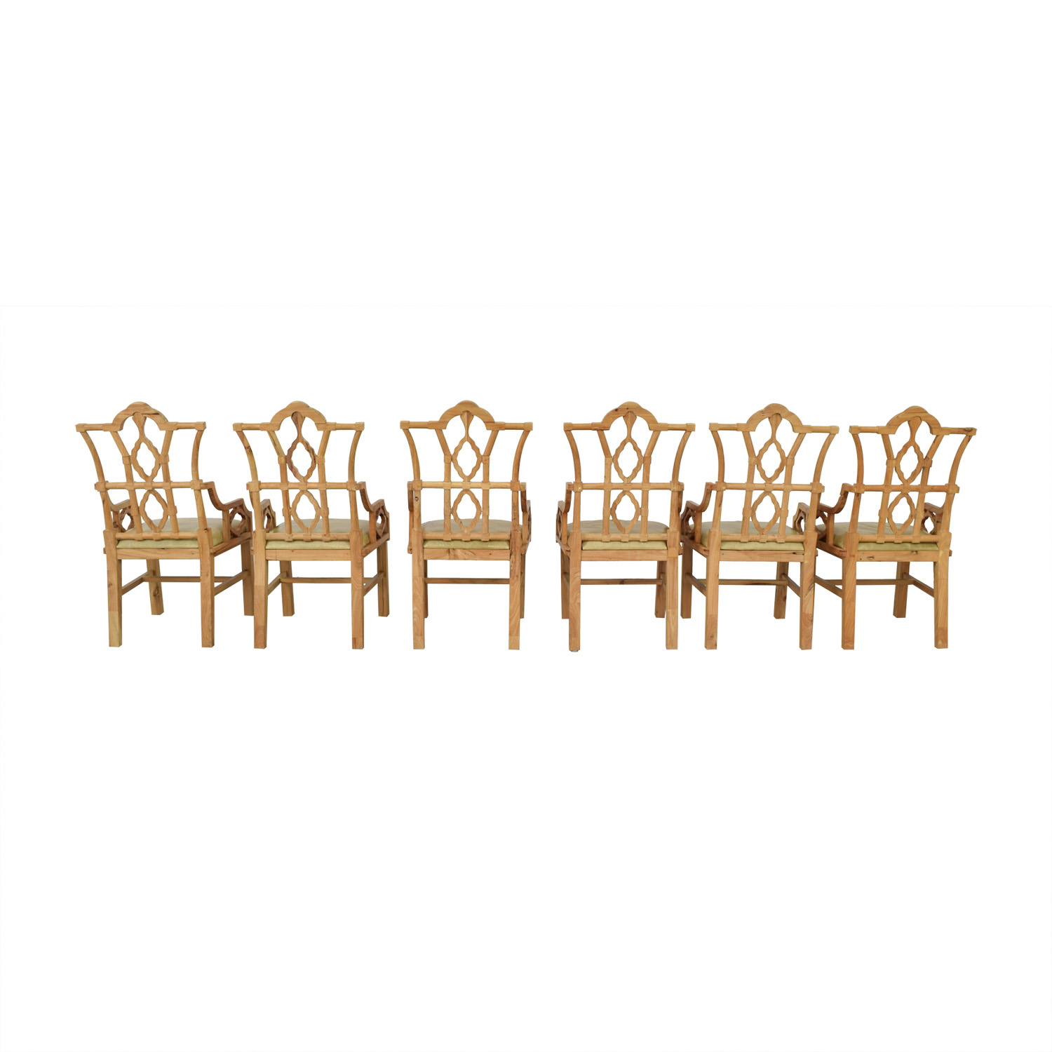 Custom Taupe Leather and Wood Chairs used