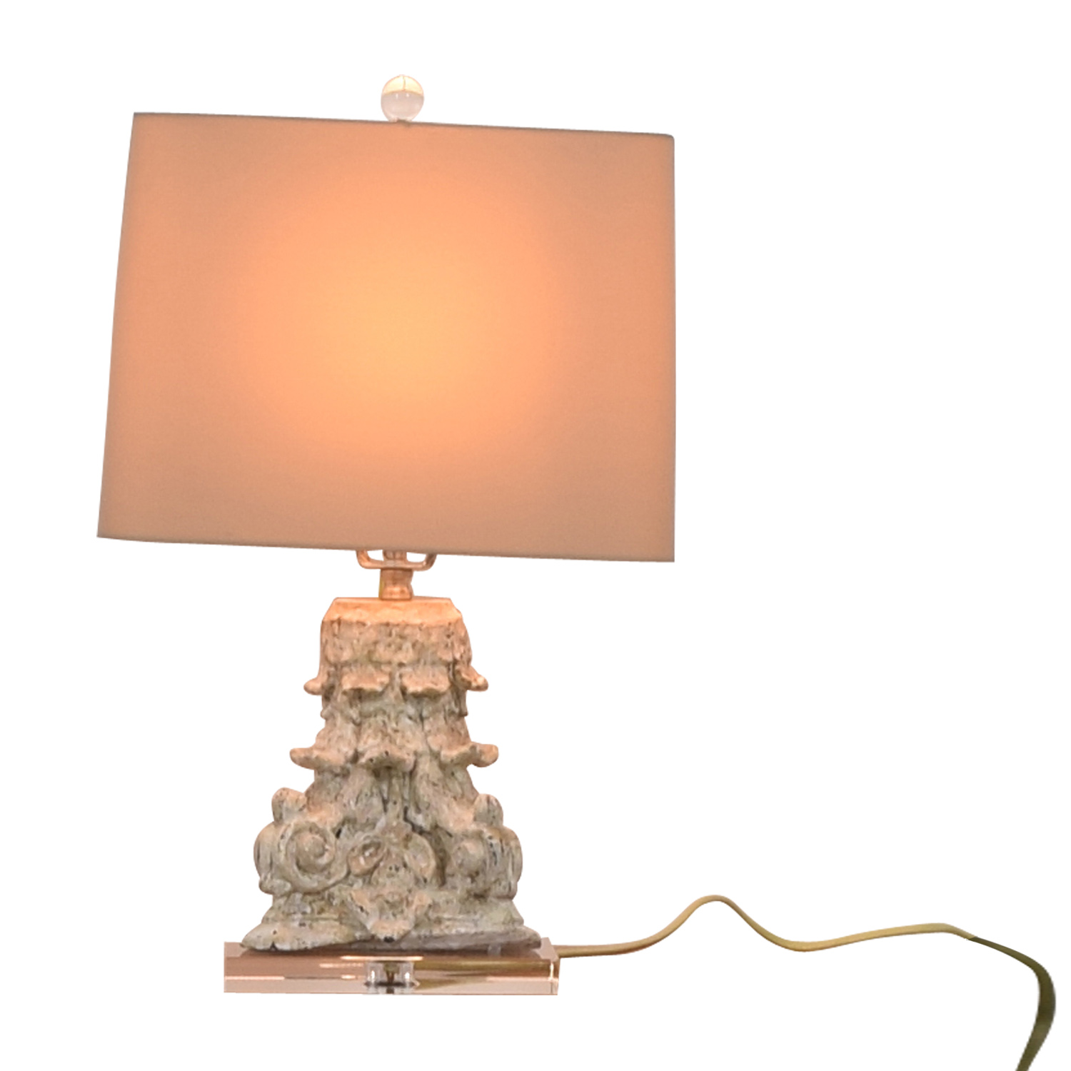 Carved Beige Table Lamp dimensions