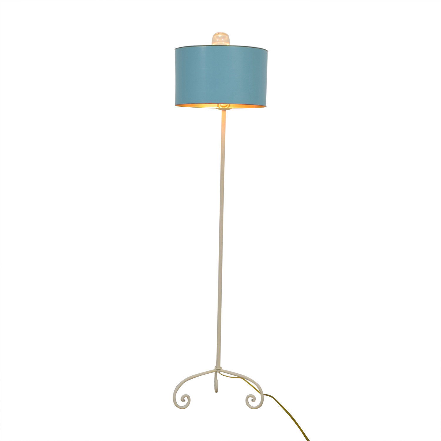 shop White Iron Base Floor Lamp with Turquoise Shade  Lamps