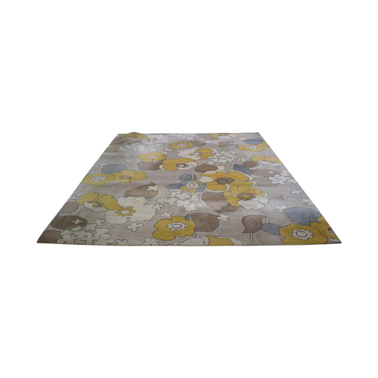 Crate & Barrel Gold and Beige Flowers Wool Rug Crate & Barrel