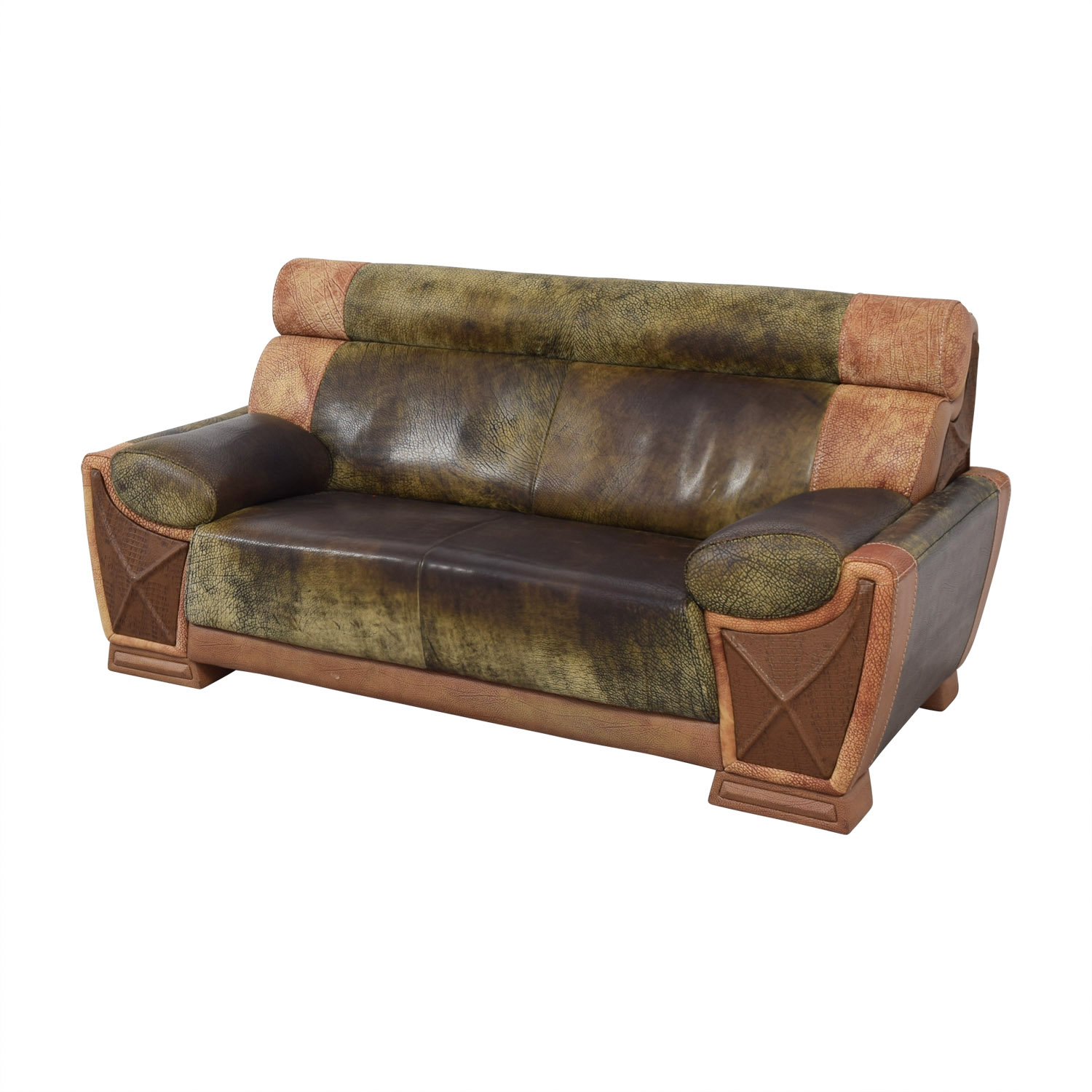 78 Off Two Tone Leather Two Seater Sofa Sofas