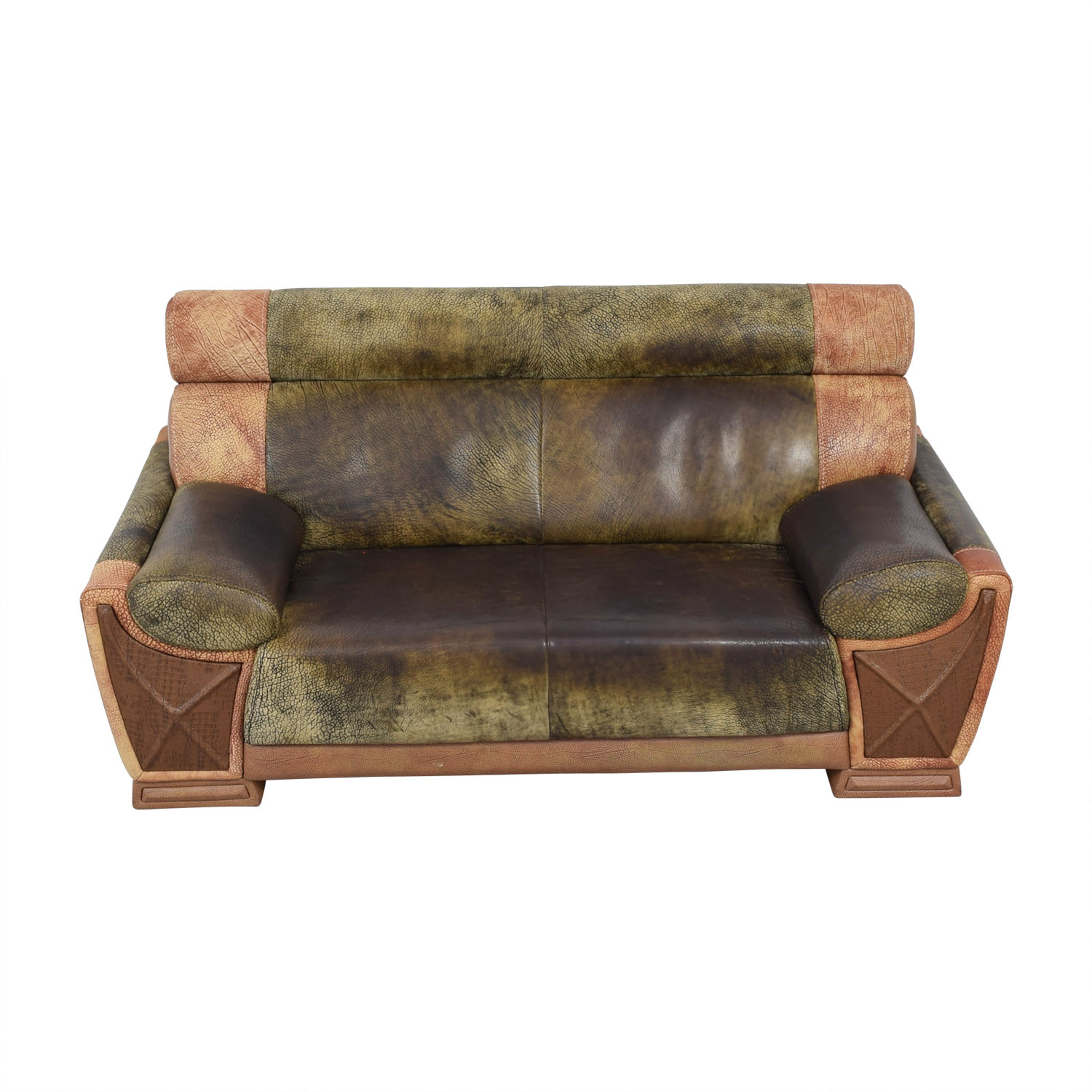 Two Tone Leather Two Seater Sofa used