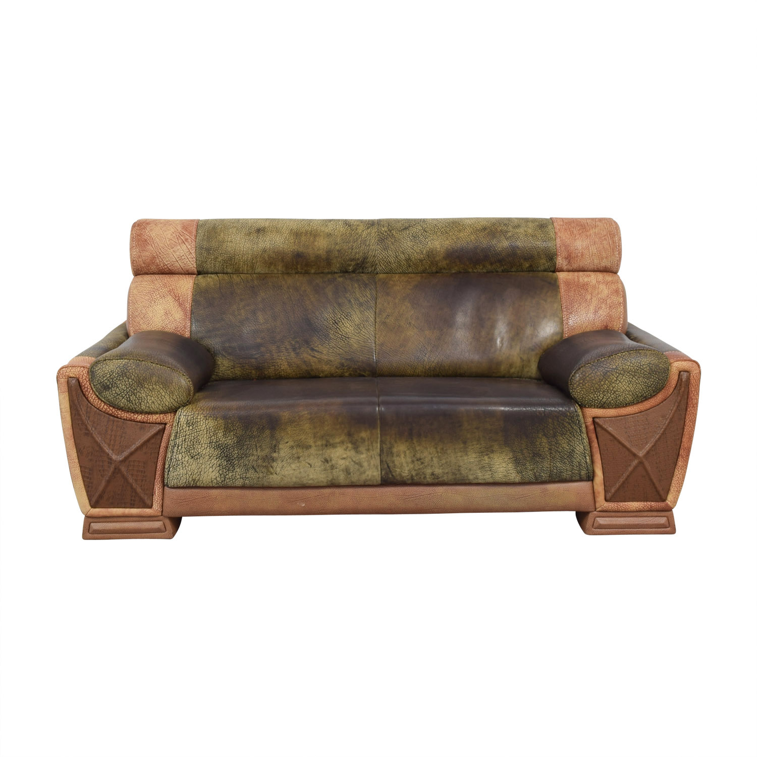 buy Two Tone Leather Two Seater Sofa
