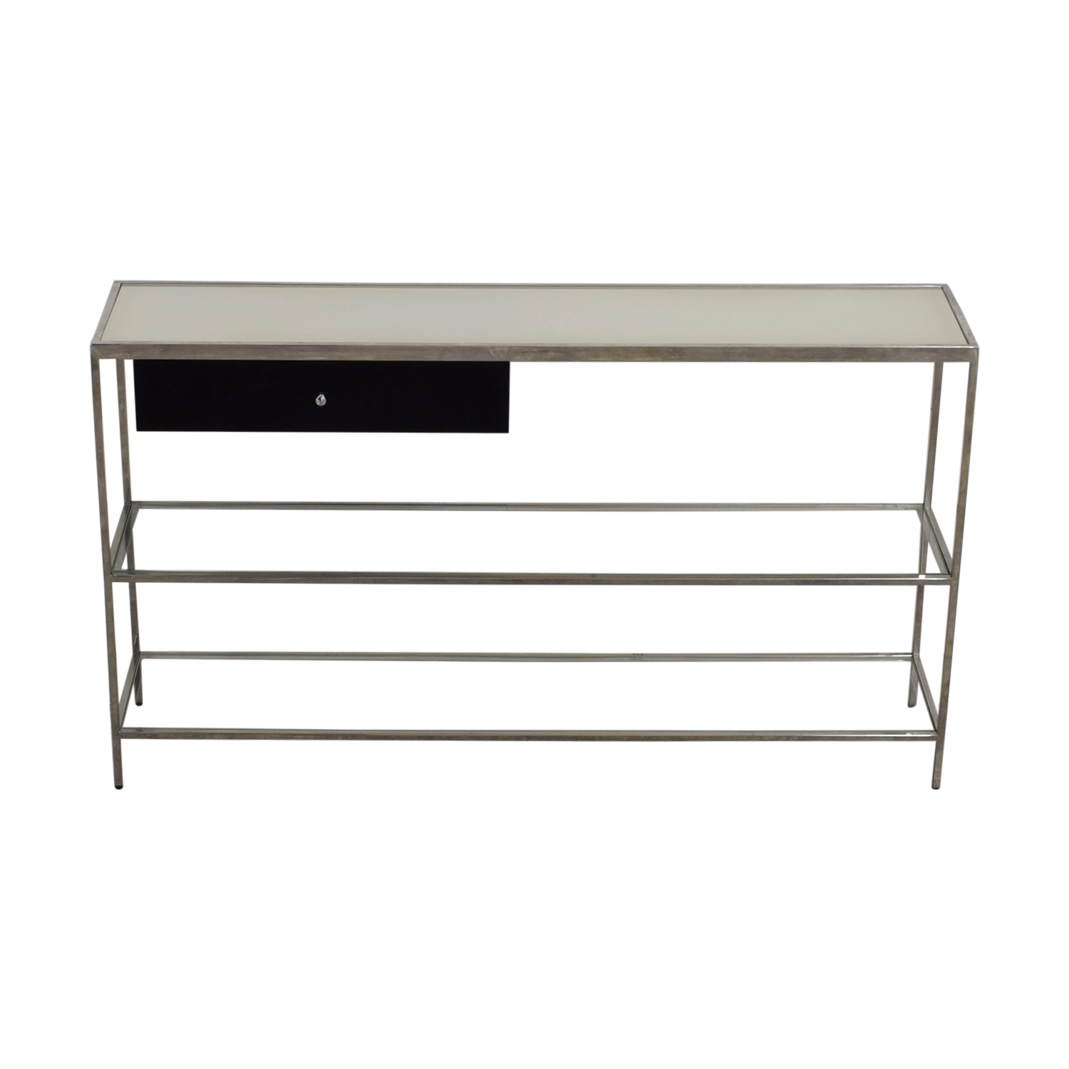 buy Mitchell Gold + Bob Williams Manning Black Chrome and Glass Console Table Mitchell Gold + Bob Williams