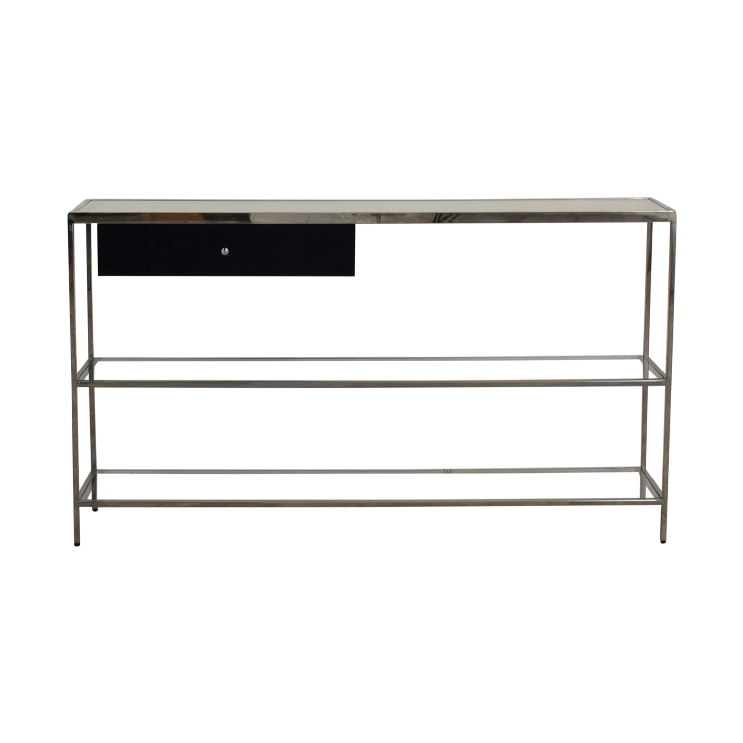 buy Mitchell Gold + Bob Williams Manning Black Chrome and Glass Console Table Mitchell Gold + Bob Williams Accent Tables