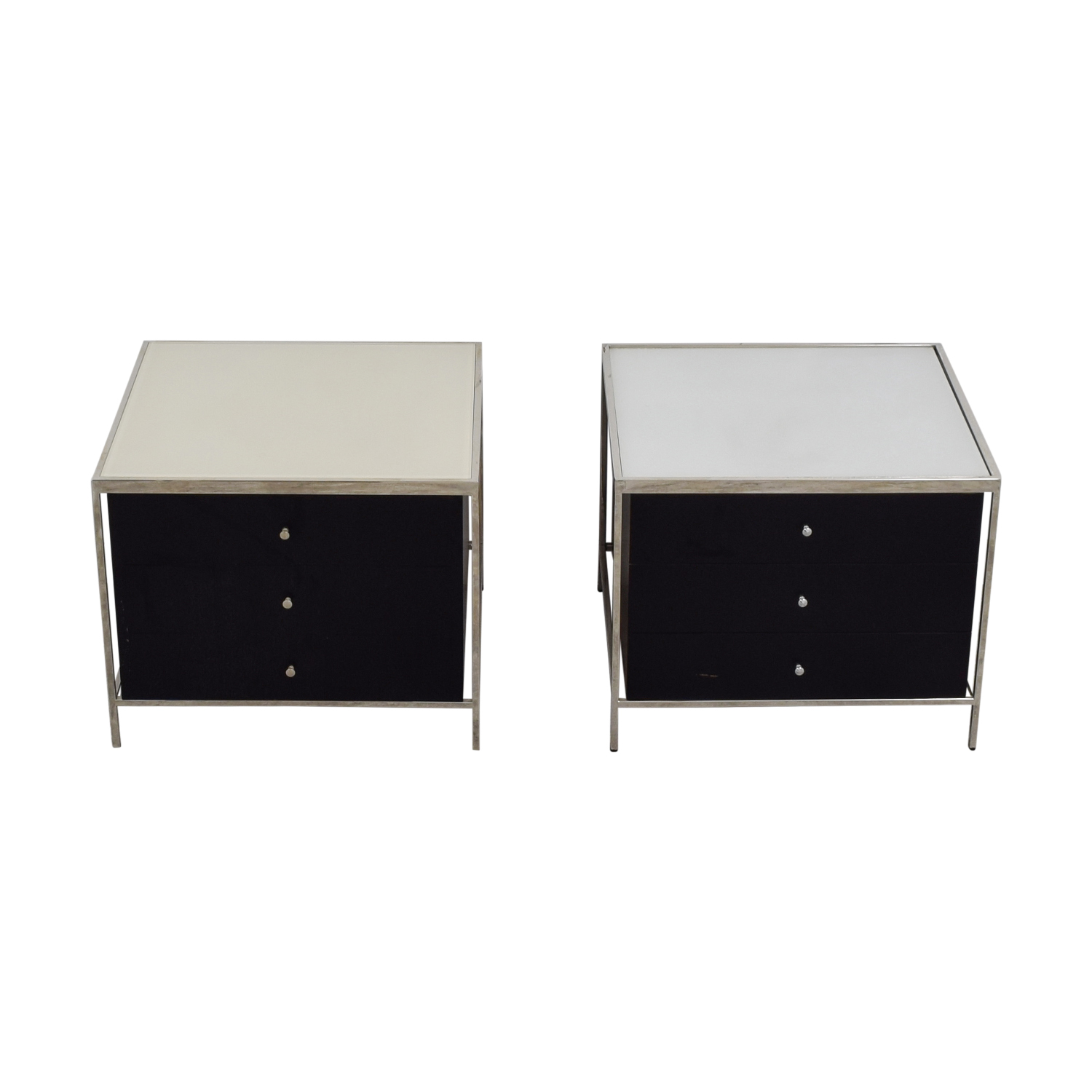 buy Mitchell Gold + Bob Williams Manning Black and White Three-Drawer Side Tables Mitchell Gold + Bob Williams