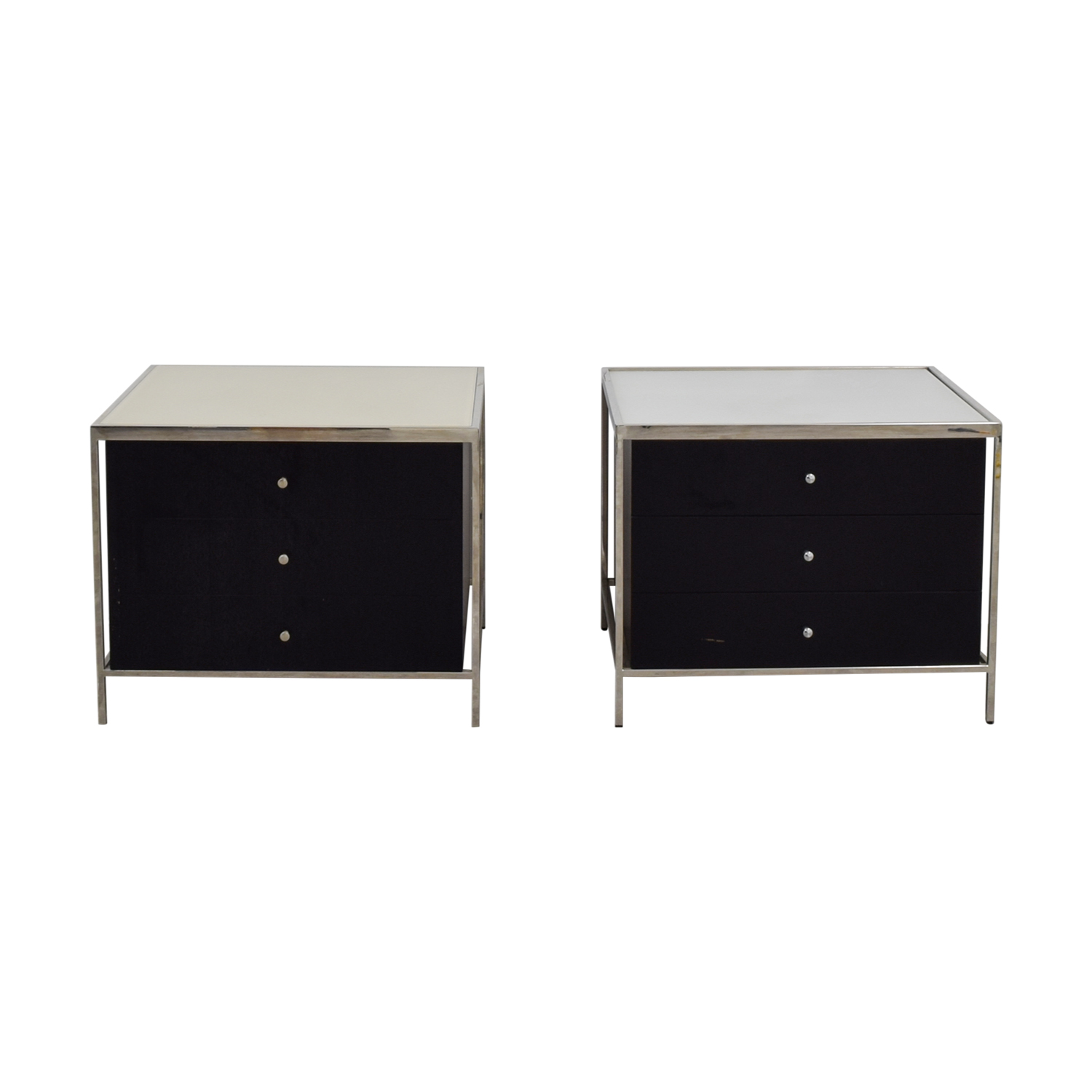 Mitchell Gold + Bob Williams Mitchell Gold + Bob Williams Manning Black and White Three-Drawer Side Tables nj