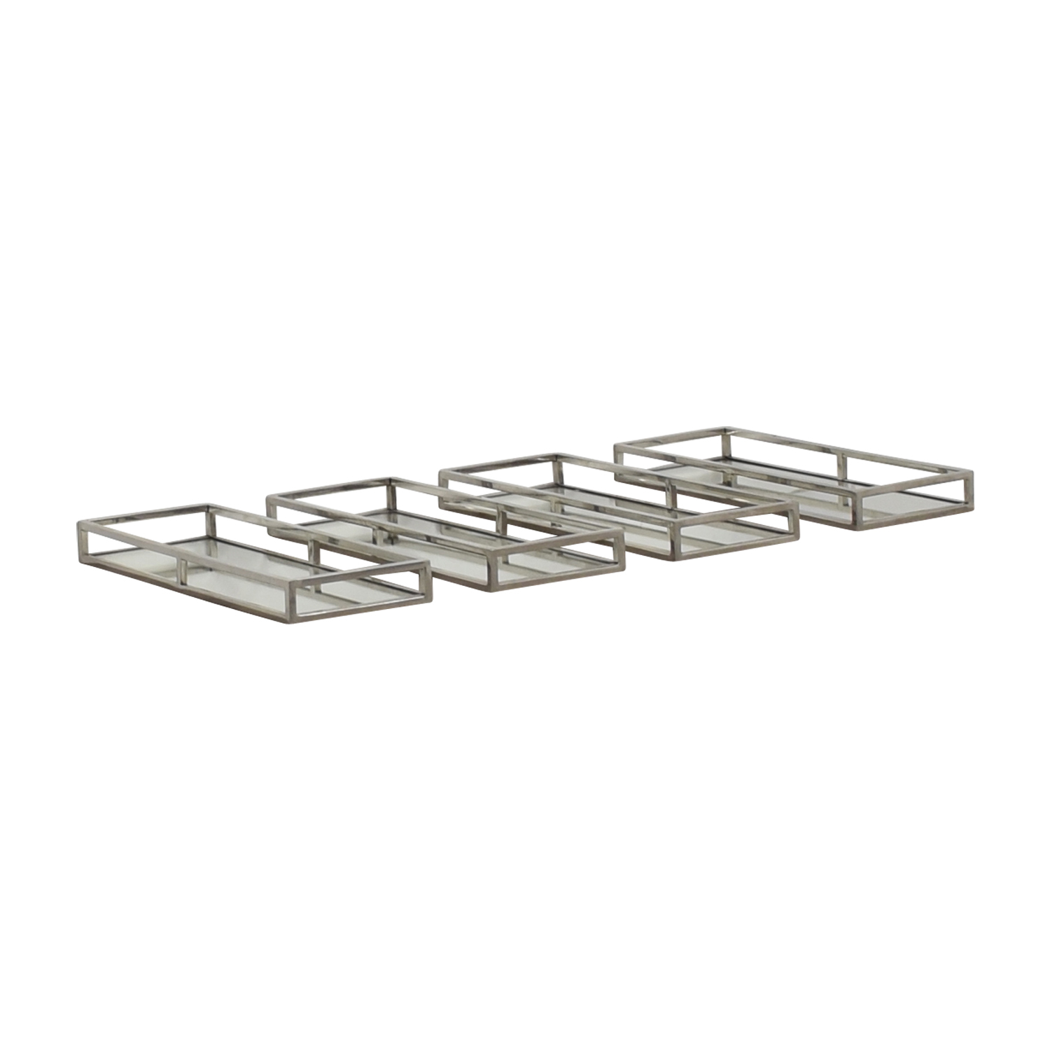 buy Mitchell Gold + Bob Williams Luxe Rectangle Stainless Steel Trays with Mirrors Mitchell Gold + Bob Williams