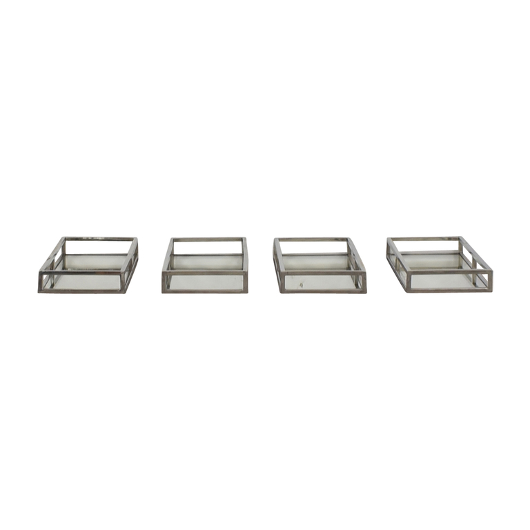 Mitchell Gold + Bob Williams Mitchell Gold + Bob Williams Luxe Rectangle Stainless Steel Trays with Mirrors dimensions