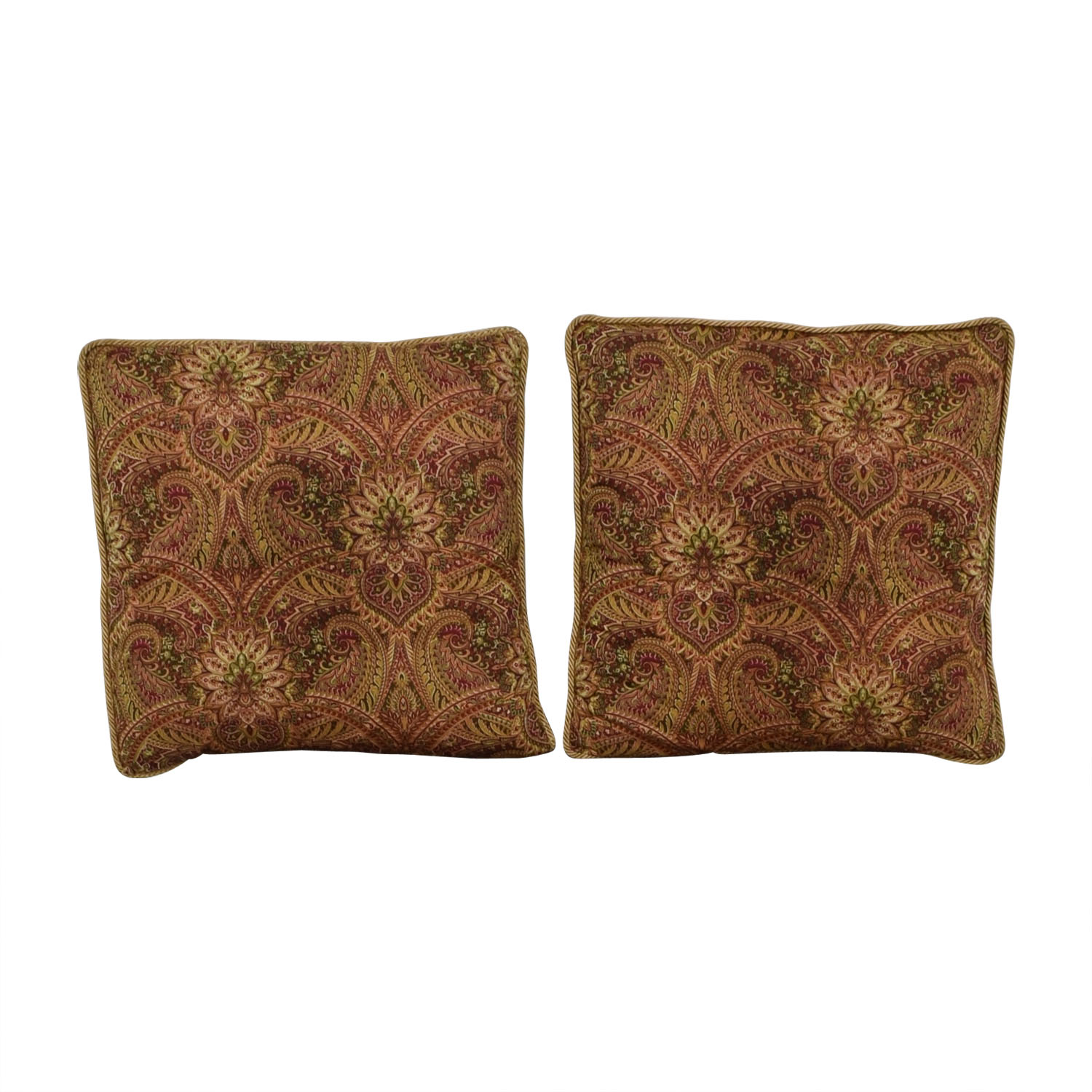 Paisley Floor Pillows with Gold Braid Trim Decor
