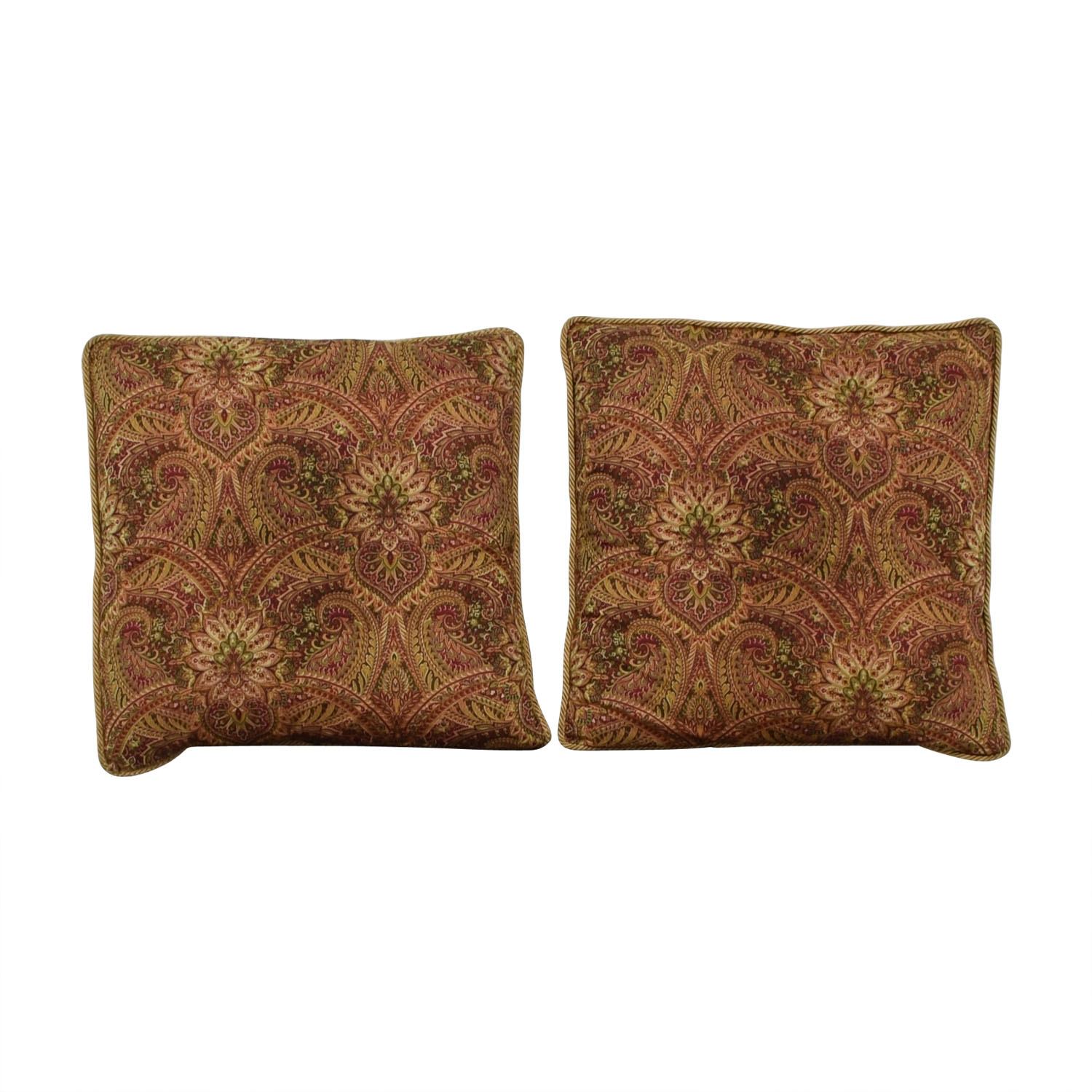 buy Paisley Floor Pillows with Gold Braid Trim