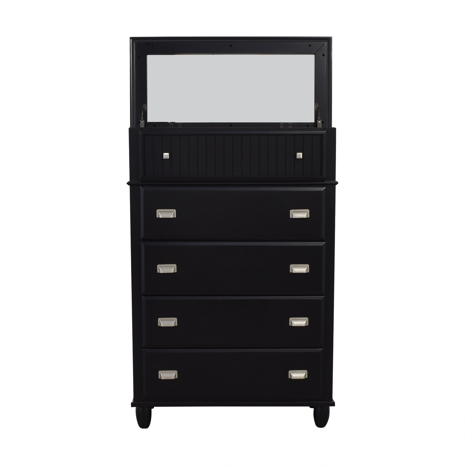 Bob's Furniture Black Spencer Lift-Top Chest with Mirror / Storage