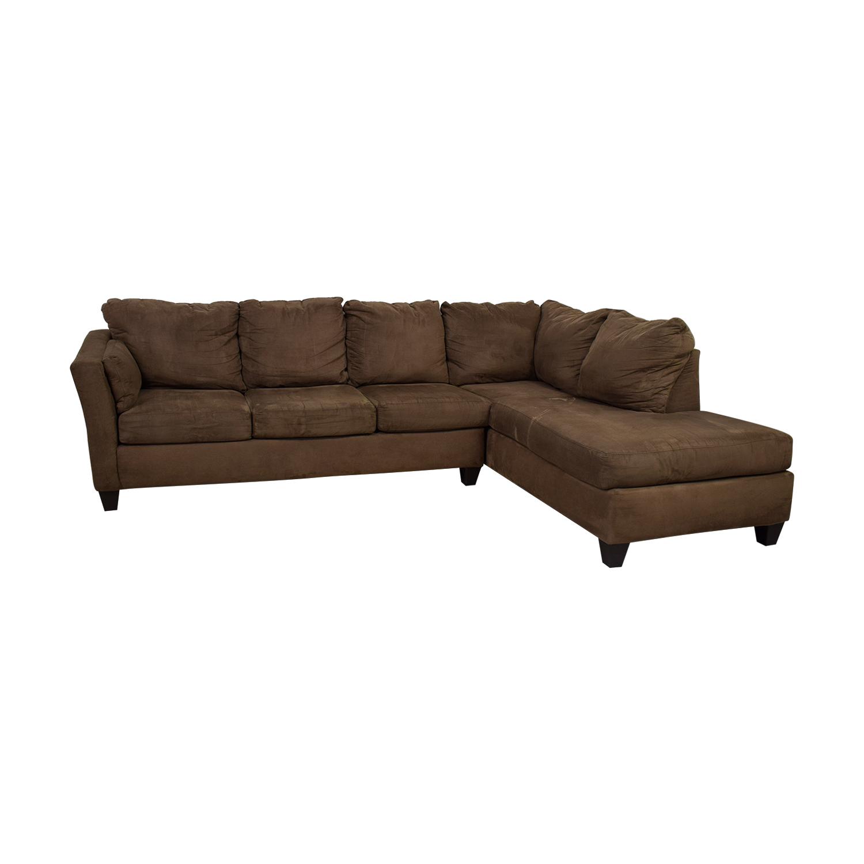 Bob's Furniture Bob's Furniture Libre II Brown L-Shaped Chaise Sectional discount