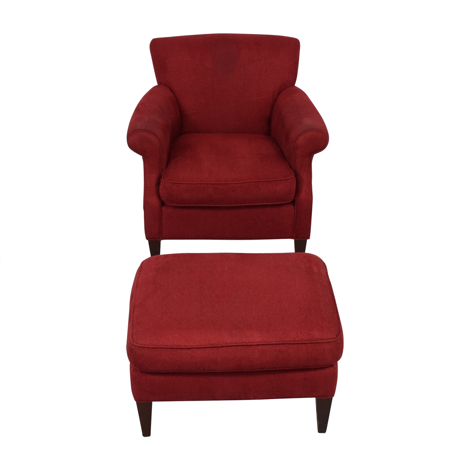 Miraculous 57 Off Crate Barrel Crate Barrel Red Roll Arm Accent Chair And Ottoman Chairs Unemploymentrelief Wooden Chair Designs For Living Room Unemploymentrelieforg