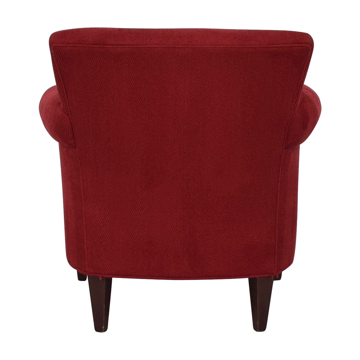 Crate & Barrel Crate & Barrel Red Roll Arm Accent Chair and Ottoman