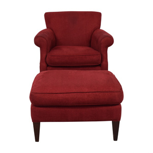buy Crate & Barrel Crate & Barrel Red Roll Arm Accent Chair and Ottoman online