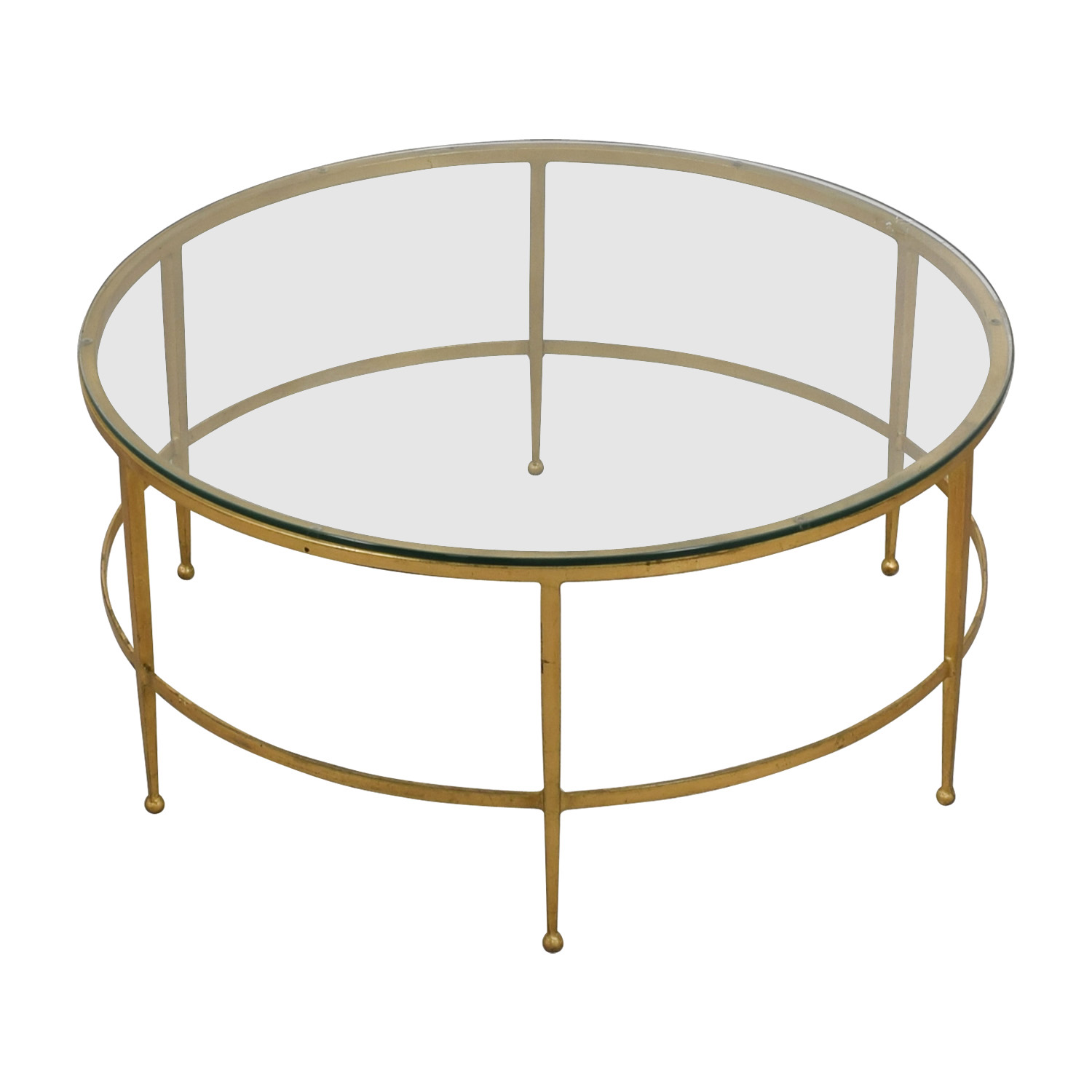 buy Round Gold and Glass Table  Tables