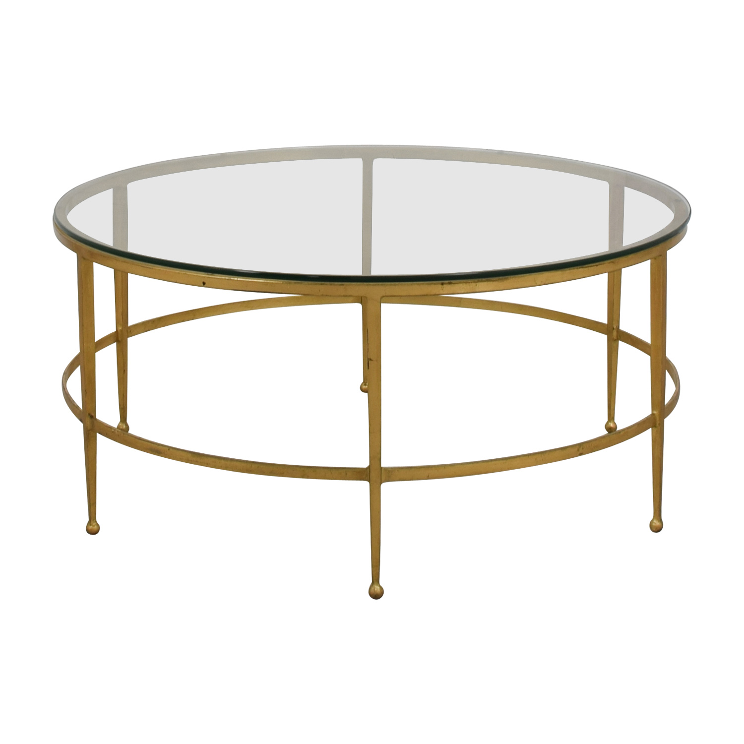 Round Gold and Glass Table sale