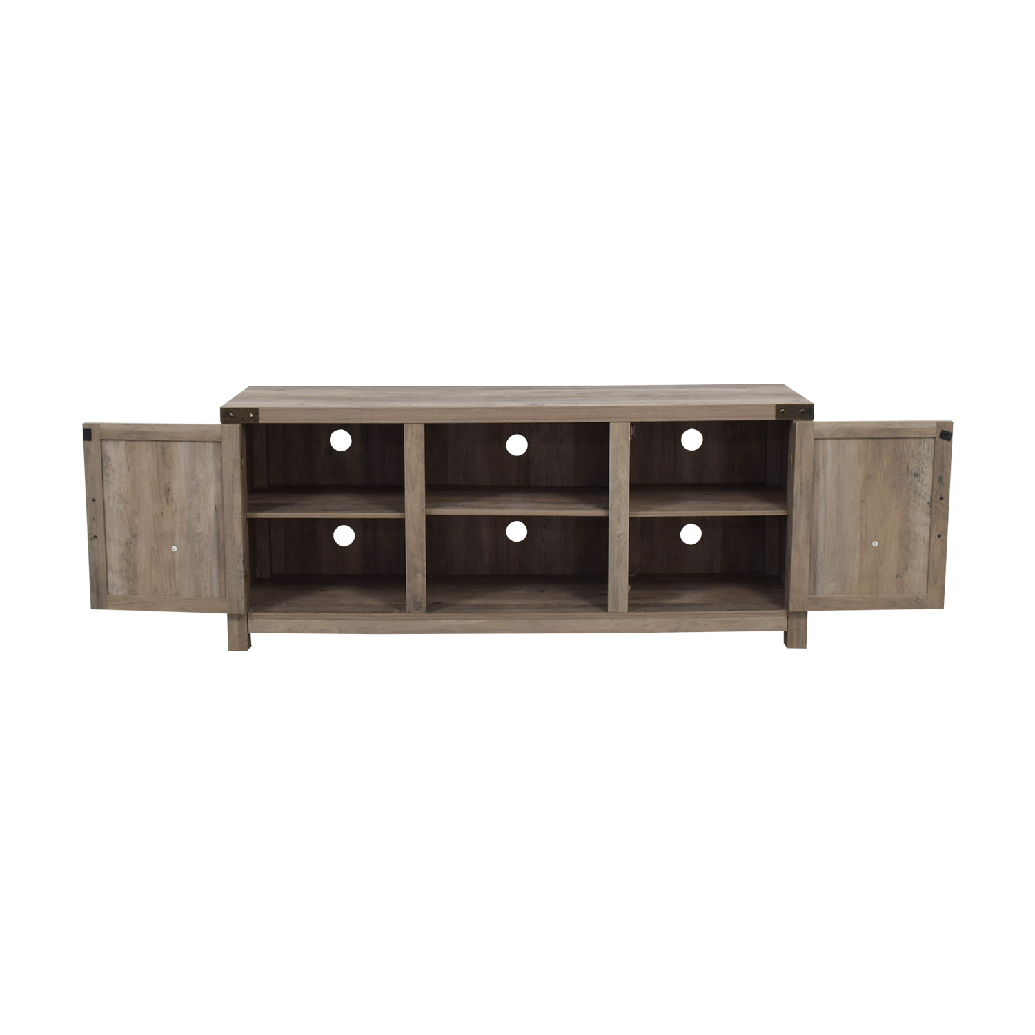 Rustic Wood Media Stand with Cabinets second hand