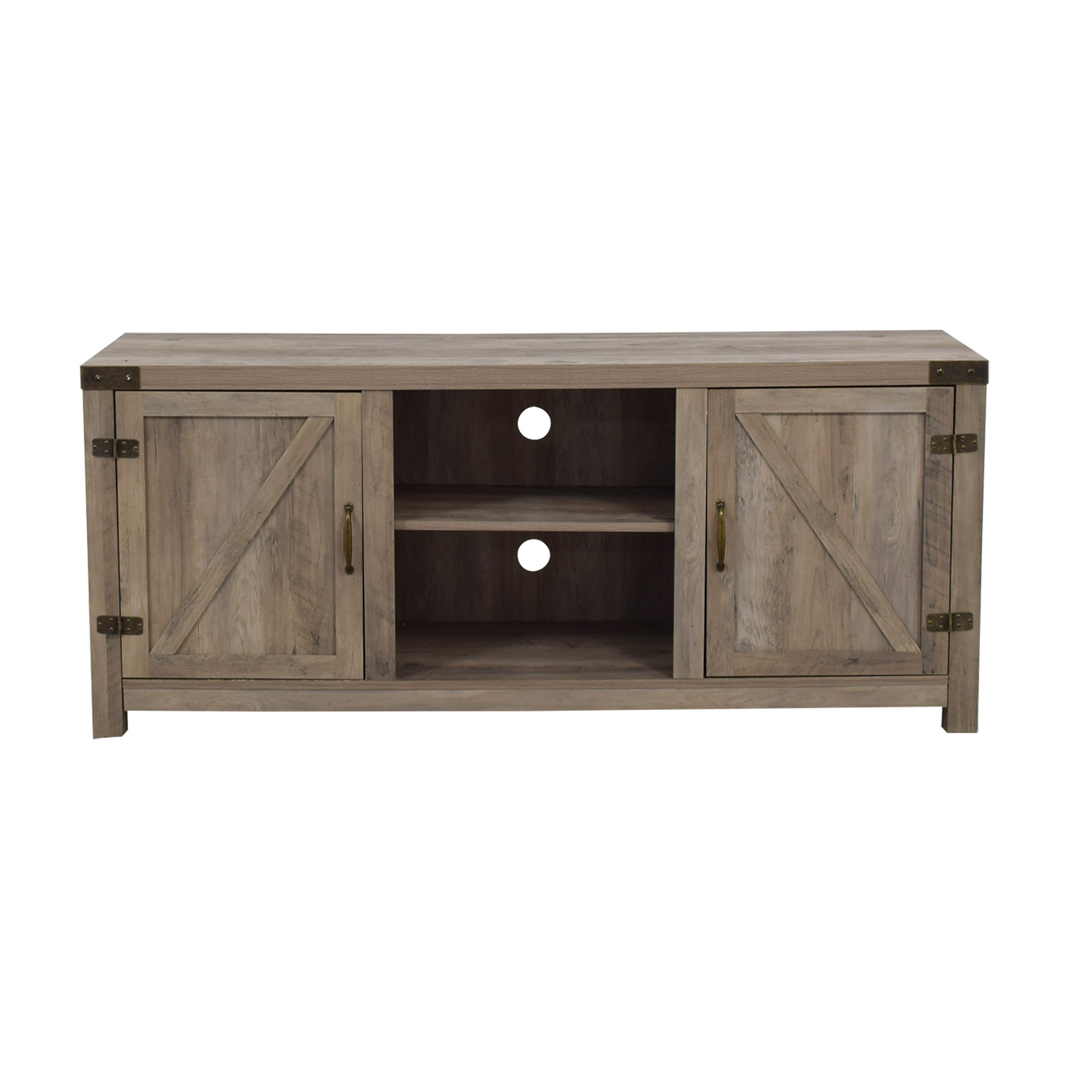 Rustic Wood Media Stand with Cabinets sale